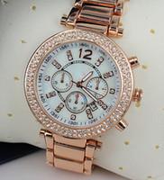 Wholesale Fake Tags - Luxury Brand M Women Watch Diamonds Dial with Calendar Fake 3 Eyes Women's Watches Ladies Dress 6573 Wristwatches free shipping