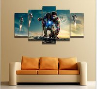 Wholesale Cartoon Pictures For Kids Room - HD Printed movie poster Iron Man picture painting on canvas 5 panels for boy kids room home wall decoration Canvas art frame