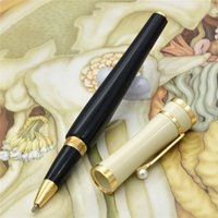 Wholesale Good Financing - Good quality elegant Greta Garbo Roller Ball Pen   fountain pen Unique Stationery School Supplies MB Pens With Pearl Clip