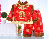 Wholesale Chinese Clothing For Babies - Winter baby boys clothes Children costume suit Warm three-piece cashmere thickened Chinese-style Tang suit for kids