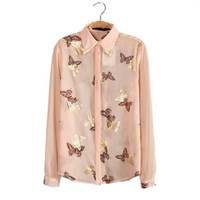 Wholesale Long Sleeve Chiffon Blouse China - New products women blouses butterfly gold foil print chiffon blouse 2015 summer ladies casual long-sleeved shirts tops cheap clothes china N