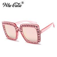 Wholesale Vintage Mosaic - 2018 Oversized Crystal Embellished Diamond Sunglasses Women Mosaic Vintage Luxury Square Rhinestone Sun Glasses Rivet Clear Shades 0148