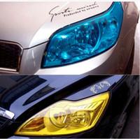 faros envueltos en vinilo al por mayor-2 unids 30 cm x 100 cm Nueva Auto Faros Antiniebla de Humo Luz Trasera Tinta Vinilo Película Hoja Pegatina Abrigo Rojo Bllack Azul Blanco Verde Amarillo
