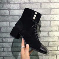 Wholesale Pearls Half - Hot Sale Women Boots Chunky Heel Shoes With Pearls Spring Autumn Black Gold Luxurious Brand Boots With Box With Zip Fastener ZIPPER