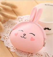 Wholesale Bunny Wallets - candy color bunny rabbit silicone coin purse kids gift cartoonTrendy baby Mini coin bag lady change purse women smart wallets