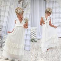 Wholesale Embellishments For Dresses - 2016 Lovely Bohemian Flower Girl Dresses V Neck Sleeveless Lace Appliques Long Girls Gowns for Weddings Tiered Embellishment Custom Made