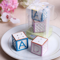 """Wholesale Ceramic Baby Favors Wholesale - """"New Baby on the Block"""" Baby Shower Letters ABCD Ceramic Salt and Pepper Shaker Wedding Favors and Gifts 60pcs=30sets lot"""