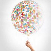 Wholesale Valentines Wedding Supplies - Confetti Filled Balloons Helium Quality Party Wedding Valentines Birthday Decoration round transparent ballon Hen Decor 36''