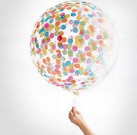 ingrosso riempiendo palloncini-Confetti Palloncini Riempiti Qualità Elio Festa Nozze San Valentino Compleanno Decorazione rotonda palloncino trasparente Decor Gallina 36 ''