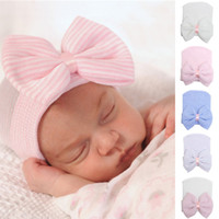 Wholesale Stripe Hair Bow - Spring Autumn Baby Big Hair Bow Knitted Hats Soft Cotton Unisex Toddlers Hat For Newborn Babies Cute Stripe Infants Caps For 3-6 Mos
