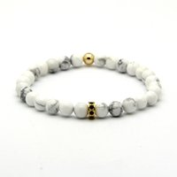 Wholesale Wheels Micro - Wholesale 10pcs lot High Grade Jewelry 6mm White Howlite Marble Beads with Micro Inlay Black Zircons Spacer Cz Wheel Bracelets