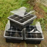 Wholesale Plastic Planting Trays Wholesale - 12 Cell Black Propagation Tray Plant Seed Cloning Insert Clone Grow Box Flower Pot Kit Nursery Pots