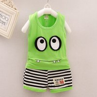 Wholesale Toddler Monkey Clothes - 2017 korean style toddlers infant summer clothing set cartoon animal dog monkey cotton t-shirt+ear pants 2 pcs