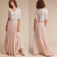 Wholesale Two Piece Shirt Pattern - 2017 New Pattern Two Piece Bridesmaid Dresses Ivory Lace Crop with Short Sleeves Blush A Line Chiffon Skirt Two Piece Wedding Dresses