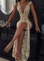 Wholesale Tight Blue Prom Dresses - 2016 Champagne Sexy Plunging V Neck Tight -High Split Evening Dresses Full Lace Side Cutaway Backless Prom Dresses With Beading