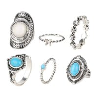 Wholesale Artificial Sapphire - 2015 6pcs Set Midi ring Sets Boho Beach Vintage Rings For Women Artificial Sapphire Christmas Gift Free delivery Wholesale