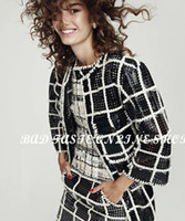 Wholesale Paris Chic - Wholesale-Paris Luxury Brand Designer Bicolor Laser-cut Lambskin Leather Trench Coat Chic Women's Black White Plaid Quilted Leather Coat