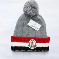Wholesale bonnet crochet - New Mon Brand Unisex Winter Wool Hats Men and Women Knitting Beanie Warm Caps Couple Touca Gorro Bonnet Skull Caps with Fuzzy Ball 5 colors