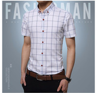 Wholesale Short Sleeve Check - Wholesale-Vintage Shirts Men 2016 New Casual Plaid Printed Plus Size Cotton Business Shirt 5XL Social Clothes Brand China Check Shirt A041