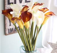 Wholesale Cheap Calla Lilies - Wholesale Artificial Calla Lily Flowers PU Home Party Decoration Favors DiY Bridal Bouquet 67cm Long Wedding Flowers Cheap Sale