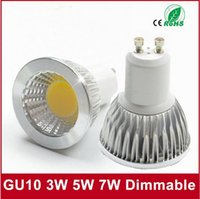 10PCS LED Spotlight GU10 COB Dimmable светодиодная лампа 3W 5W 7W Warm White / white 85-265V Ultra Bright GU 10 Bulbs Бесплатная доставка