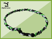 Wholesale Titanium Necklaces Sports Green - royal blue black white baseball softball football necklace -via DHL New titanium braided 3 ropes tornado necklaces for SPORTS 18'' 20'' 22''