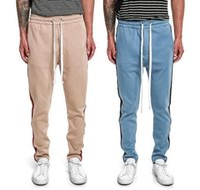 Wholesale Tracks Pants - 2017 Striped Pants Men with Back Zipper Pockets Elastic Waist Drawstring Terry Track Pants Hip Hop Pants Men Trousers Harem Pant