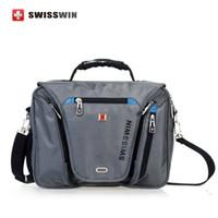 Wholesale Briefcase Portfolio Woman - Wholesale- Swiss laptop Briefcase Waterproof men 15 inch laptop Bag women Multifunctional Men's Shoulder Bag portfolio male bag