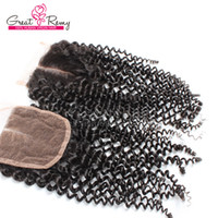 Wholesale Cheap Fast Shipping Virgin Hair - Cheap Brazilian Curl Lace Closure Virgin Unprocessed Human Hair Middle Way Part 4*4 Hairpieces Natural Color Dyeable Fast Shipping greatremy