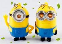 Wholesale Despicable Talking - Despicable me 2 LED Keychain talk minions press button say I love you gift lovers eye minions flashlight toy