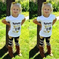 Wholesale Girls Shorts Floral Pants - Girls Children Clothing Sets Outfits Clothes Baby Kids Toddlers Floral Cotton Short Sleeve Tees Tops T- Shirt Pants Letter Printing Suits