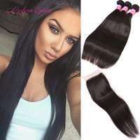 Wholesale Wholesale Parts Sewing Machine - Raw Indian Straight Human Hair Sew Weaves 3 Bundle With Lace Closure Indian Silky Straight Middle Free Three Part Closure With Hair Bundles