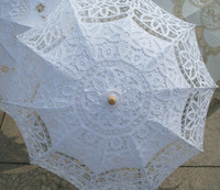 Wholesale Hot Pink Parasols - Hot Selling New Bridal Embroidered Lace Parasol Handmade Craft Flower Embroidery Umbrella Wedding Party Decoration Umbrella 9 Colours