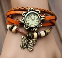 Wholesale Cheap Butterfly Charms - Butterfly Womens Leather Charm Bracelets Casual Traditional Flower Charm Friendship Cheap High Quality Link Chain Bijouterie