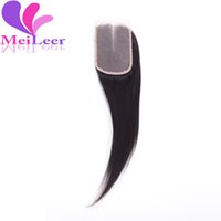 Wholesale Silk Top Closure Free Shipping - 6A Unprocessed Top Quality Silk Base Lace Closure Peruvian Virgin Human Hair Straight Silk Top Closure Middle Free Part Fast Shipping #1B