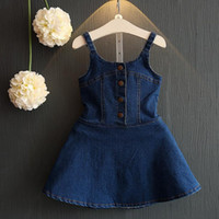 Wholesale Demin Jeans Kids - Summer Girls Demin Dress Kids Suspender Jeans Dress Backless Brace Skirt Children Demin Dresses 12012