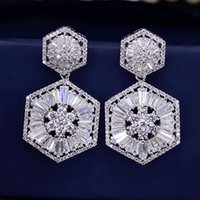Wholesale Earring Post Nickel Free - 925 silver post high quality rhodium plated lead and nickel free brilliant 5A white CZ diamond charming double hexagons bridal earrings