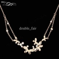 Wholesale Vintage Diamond Choker Necklace - Butterfly CZ Diamond Necklaces & Pendants Fashion Brand Weding Vintage Jewelry Jewellery For Women Chains Accessiories DFN038