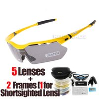 Wholesale Rockbros White - RockBros Polarized 5 Lenses Cycling Eyewear with Detachable Myopia Frame Biking Sport Sun Glasses Riding Bicycle Bike Sunglass