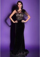 Wholesale Embroidered One Shoulder Evening Dress - One-Shoulder Draped Tulle V-line Black Velvet Evening Dresses Cleavage Embroidered With 3D Floral Lace Party Gowns
