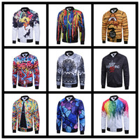 Wholesale Graffiti Colorful - 2016 New Brand 3D Print Bomber Jacket Mens Autumn Winter Colorful Starry Sky Graffiti Zipper Long Sleeve Outdoor coat Homme Jogger sportwear