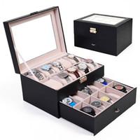 Wholesale Large Jewelry Storage Box - Large 20 Slot Leather Watch Box Display Case Organizer Glass Top Jewelry Storage