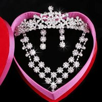 Wholesale Brides Wedding Jewellery Crown - Hot sale Supernova sale Crystal Crown Wedding Jewellery Wedding Dress Crystal Earbob Crystal Necklace Bride jewelry Have in stock