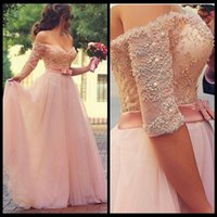 Wholesale Sexy Ma - 2017 Romantic Pink Tulle Prom Dresses Sweetheart Off Shoulder Half Sleeves Lace TFull Length Backless Evening Gowns Formal Dresses Custom Ma