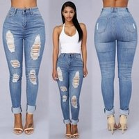 Wholesale Distressed Women Jeans - New Designer High Waisted Jeans Bodycon Denim Stretch Jean Destroy Slim Skinny Jeans Womens Ripped Distressed Pencil Pants Trousers