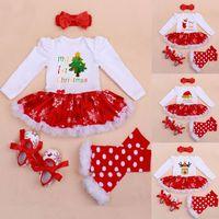 Wholesale Kids Purple Dress Shoes - New Christmas Girl Set Baby 4pcs Suits Dress+Socks+Shoes+Hairpins Kids Long Sleeve Snowflake Sets Children Cotton Clothing XMAS Gifts WX-C42
