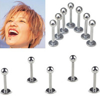 Wholesale Lip Ring Balls - 100 pcs 16g Lip Piercing Body Jewelry Surgical Steel Labret Monroe Lip Rings Chin Ear Piercing Jewelry Ball Head Ear Stud 7079