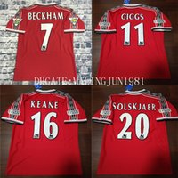 Wholesale U Shorts - Velvet Name Number 98 99 Beckham Keane Solskjaer Giggs 3 Champions Man UTD Retro Soccer jersey 1999 Man U Throwback Classic Football Shirt