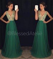 Wholesale Luxurious Chiffon Dress - Blackless Luxurious 2016 Arabic Evening Dresses V-neck Beaded Crystals Chiffon Prom Dresses Sexy Evening Gowns Vestidos De Noiva