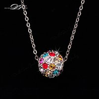 Wholesale Candy Color Copper - Candy Color Ball Inlaid Cubic Zirconia 18K Gold Pated Necklaces & pendants Jewelry For Wonem Gifts Crystal colares joias DFN168